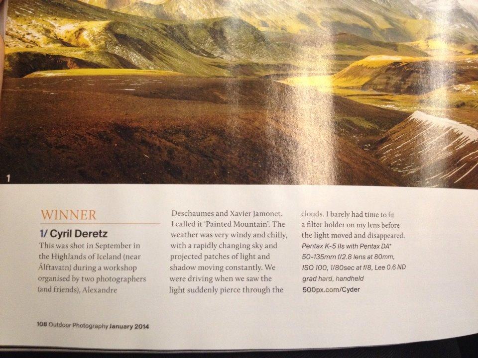 Islande – Cyril gagnant avec une image dans le magazine Outdoor Photographie de janvier 14  !