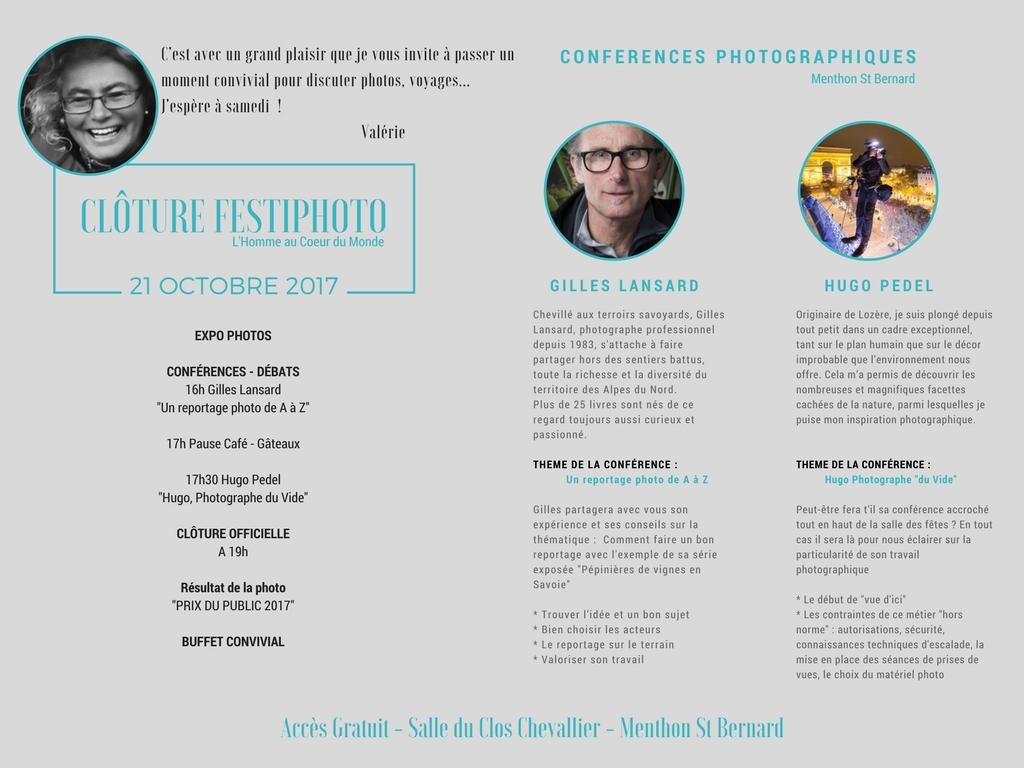 Festiphoto Menthon St Bernard Invitation Conférences et Clôture